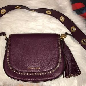 Michael Kors Plum Medium Leather Crossbody Bag